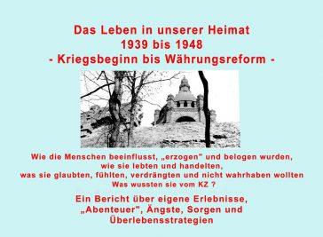 """Veranstaltungsankündigung: """"Das Leben in unserer Heimat 1939 -1948"""""""